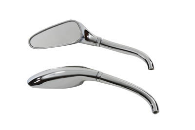 V-Twin 34-0350 - 3D Style Mirror Set with Round Stems Chrome