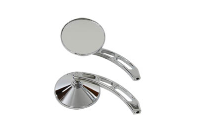V-Twin 34-0363 - Round Mirror Set with Billet Slotted Stems Chr