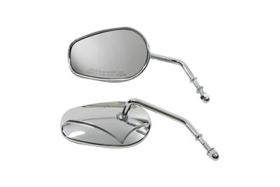 V-Twin 34-0391 - Rectangle Mirror Set with Round Stems