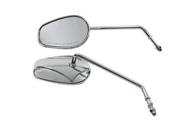 V-Twin 34-0392 - Rectangle Mirror Set with Round Long Stems