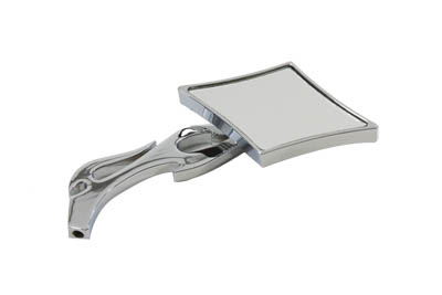 V-Twin 34-0446 - Diamond Mirror with Billet Flame Stem Chrome