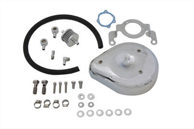 V-Twin 34-0657 - Tear Drop Air Cleaner Kit Smooth Chrome