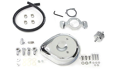 V-Twin 34-0658 - Tear Drop Air Cleaner Kit Smooth Chrome