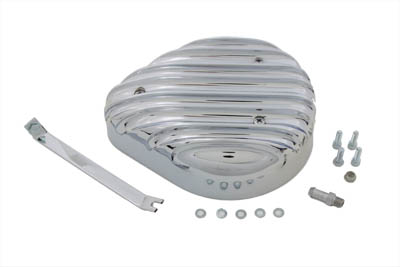 V-Twin 34-0685 - Tear Drop Air Cleaner Kit Finned Chrome