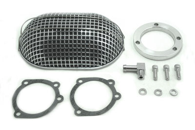V-Twin 34-0746 - Chrome Oval Mesh Air Cleaner