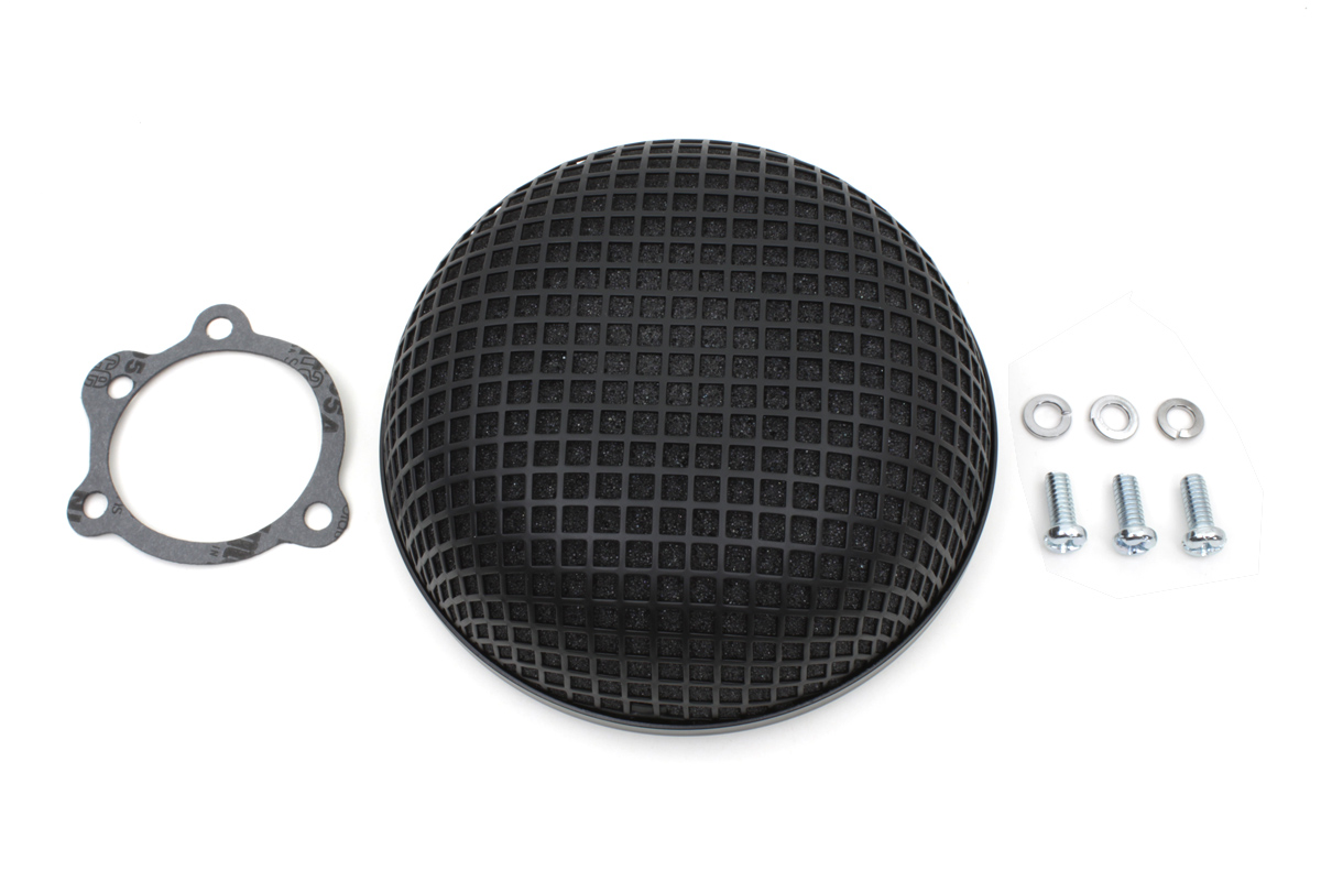 "ROUND MESH AIR CLEANER, BLACK 5-1/2"" VTWIN 34-1325"