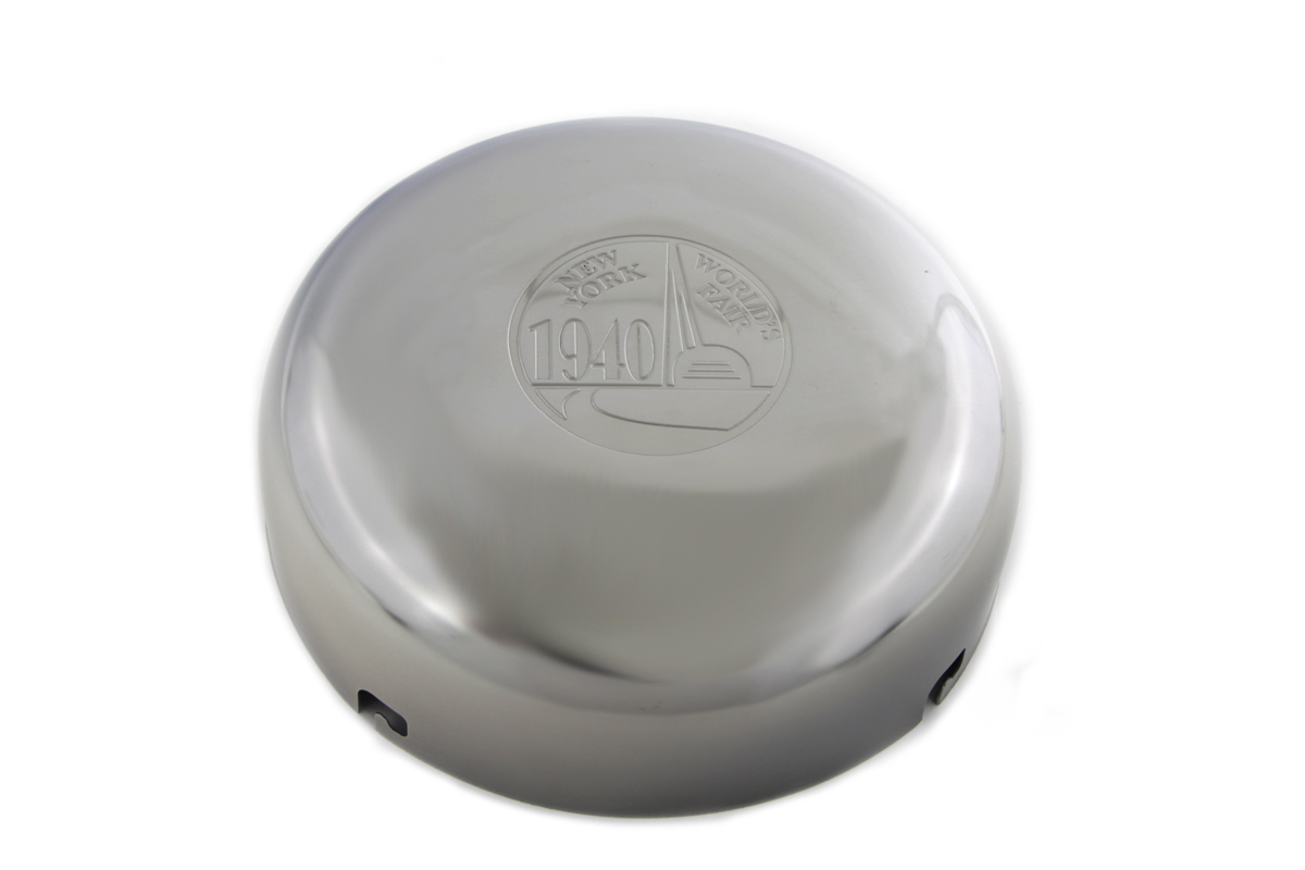 "V-Twin 34-1333 - 7"" World's Fair Logo Chrome Air Cleaner Cover"