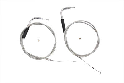 "V-Twin 36-0119 - 47"" Stainless Steel Throttle and Idle Cable Set"