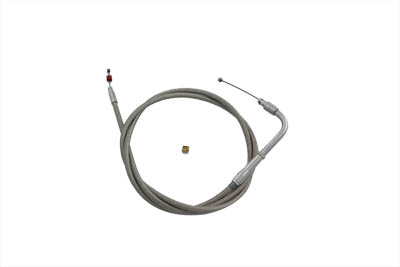 V-Twin 36-0673 - Braided Stainless Steel Throttle Cable with 39""