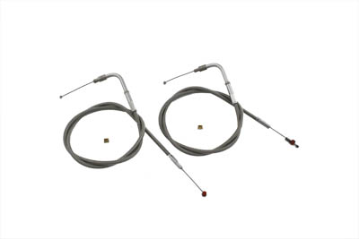 "V-Twin 36-0823 - 36"" Stainless Steel Throttle and Idle Cable Set"