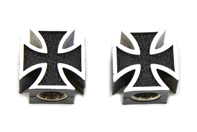 V-Twin 37-9380 - Black Maltese Cross Valve Set Cover Set