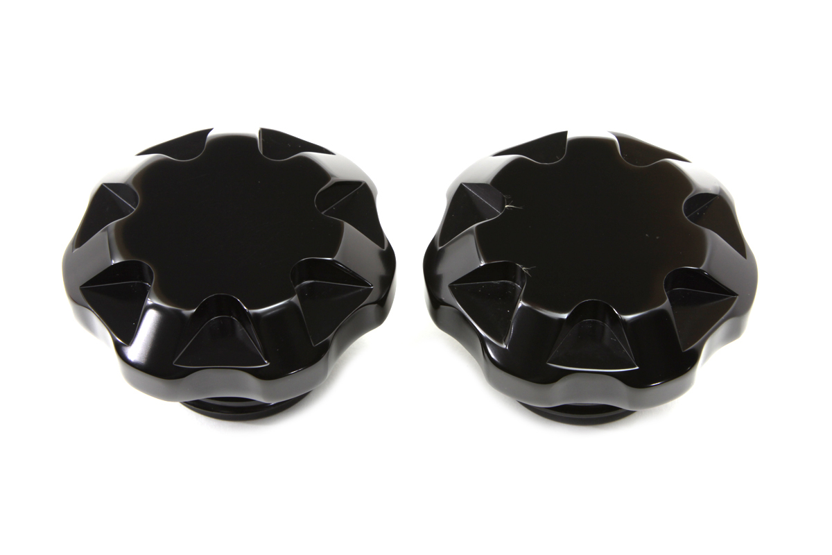 V-Twin 38-0466 - Solid Black Tech Style Gas Cap Set Vented and N
