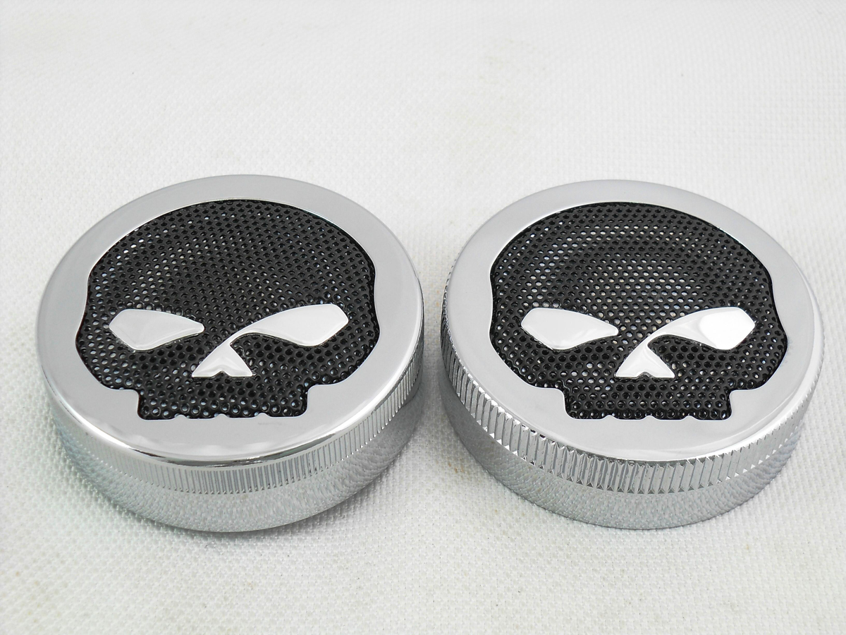 V-Twin 38-0926 - Skull Style Vented and Non-Vented Gas Cap Set