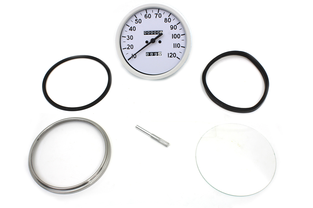 REPLICA 2:1 SPEEDOMETER, WHITE VTWIN 39-0487