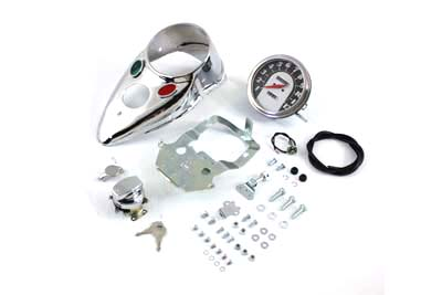 V-Twin 39-0900 - Chrome Cateye Dash Panel Kit with 1:1 Ratio Spe