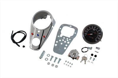 V-Twin 39-0904 - Chrome Three Light Dash Panel Kit with 1:1 Rati