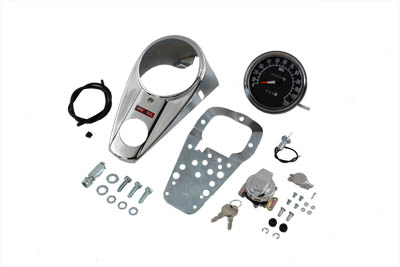 V-Twin 39-0905 - Chrome Two Light Dash Panel Kit with 1:1 Ratio