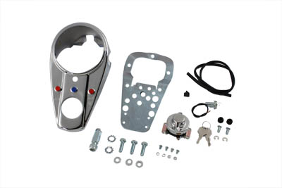 V-Twin 39-0951 - Chrome Three Light Dash Panel Kit