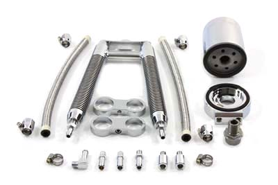 V-Twin 40-0348 - Dual Tube Vertical Style Oil Cooler Kit