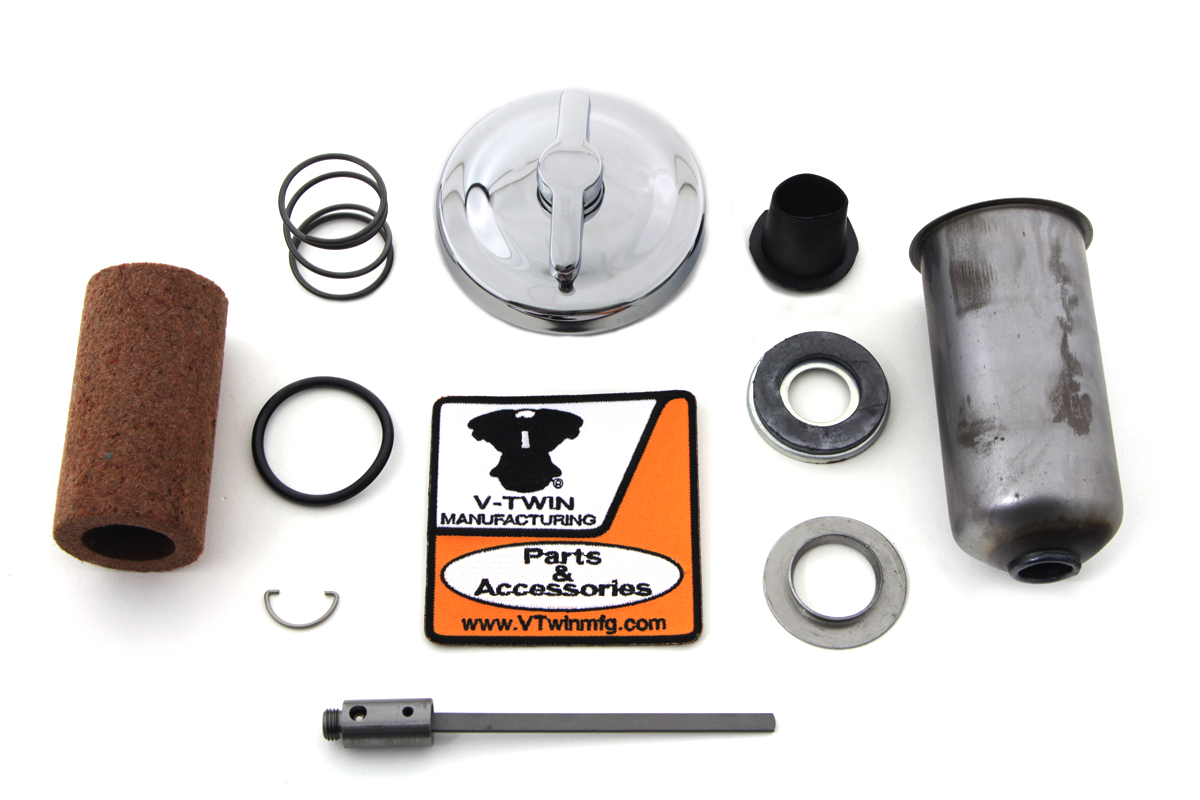V-Twin 40-0845 - Chrome Oil Tank Cap Kit