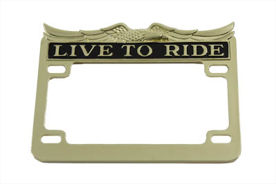 V-Twin 42-0061 - License Plate Frame Gold Inlay