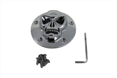 V-Twin 42-0075 - Skull Face Ignition System Cover 5-Hole Chrome