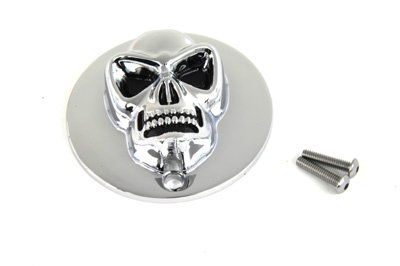 V-Twin 42-0084 - Skull Design Ignition System Cover Chrome