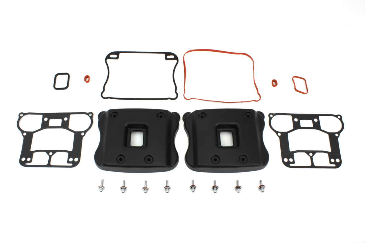 ROCKER BOX COVER SET, BLACK VTWIN 42-0353