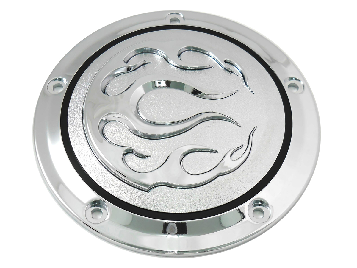 V-Twin 42-0466 - Chrome 5-Hole Flame Derby Cover