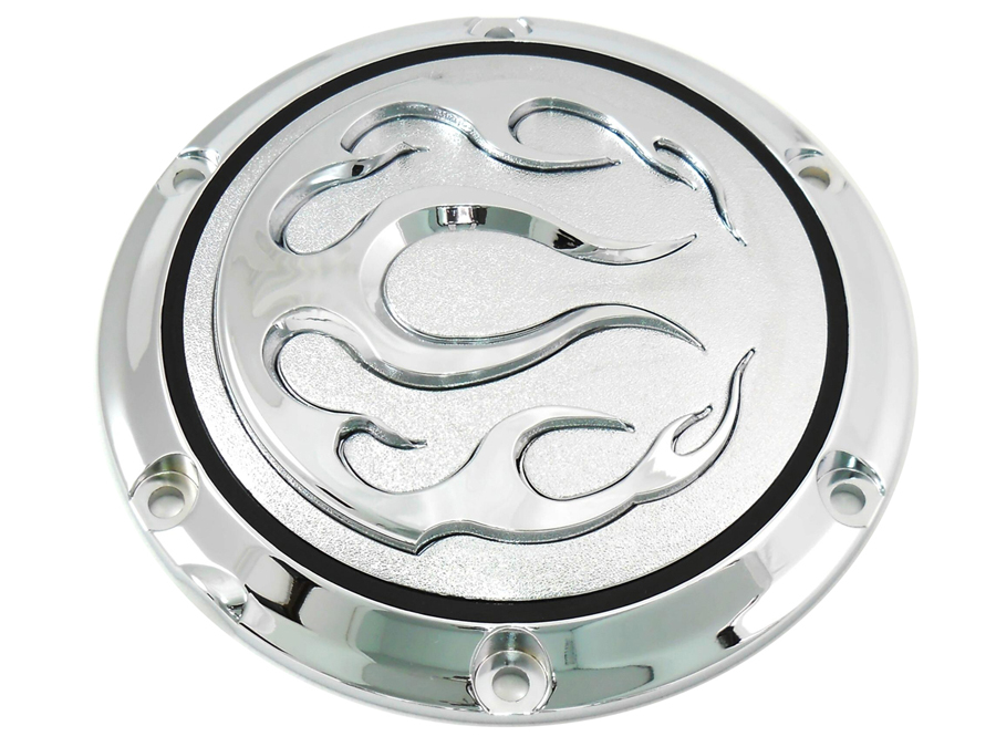 V-Twin 42-0468 - Chrome 6-Hole Flame Derby Cover