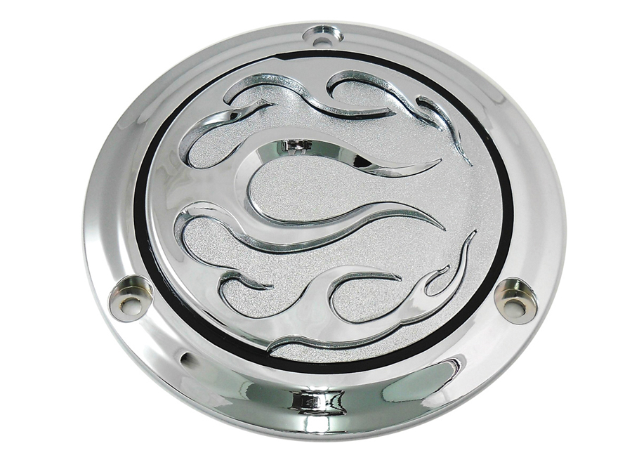 V-Twin 42-0470 - Chrome 3-Hole Flame Derby Cover