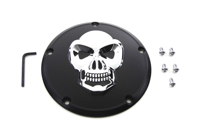 V-Twin 42-0559 - Black Derby Cover with Chrome Skull