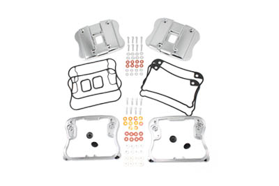 V-Twin 42-0789 - Top Rocker Box Cover and D-Ring Kit Chrome