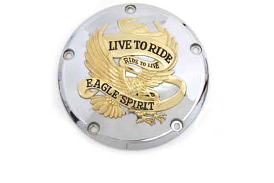 V-Twin 42-0849 - 5-Hole Derby Cover Gold Inlay