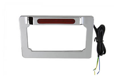V-Twin 42-0966 - License Plate Frame Chrome Billet with LED Top