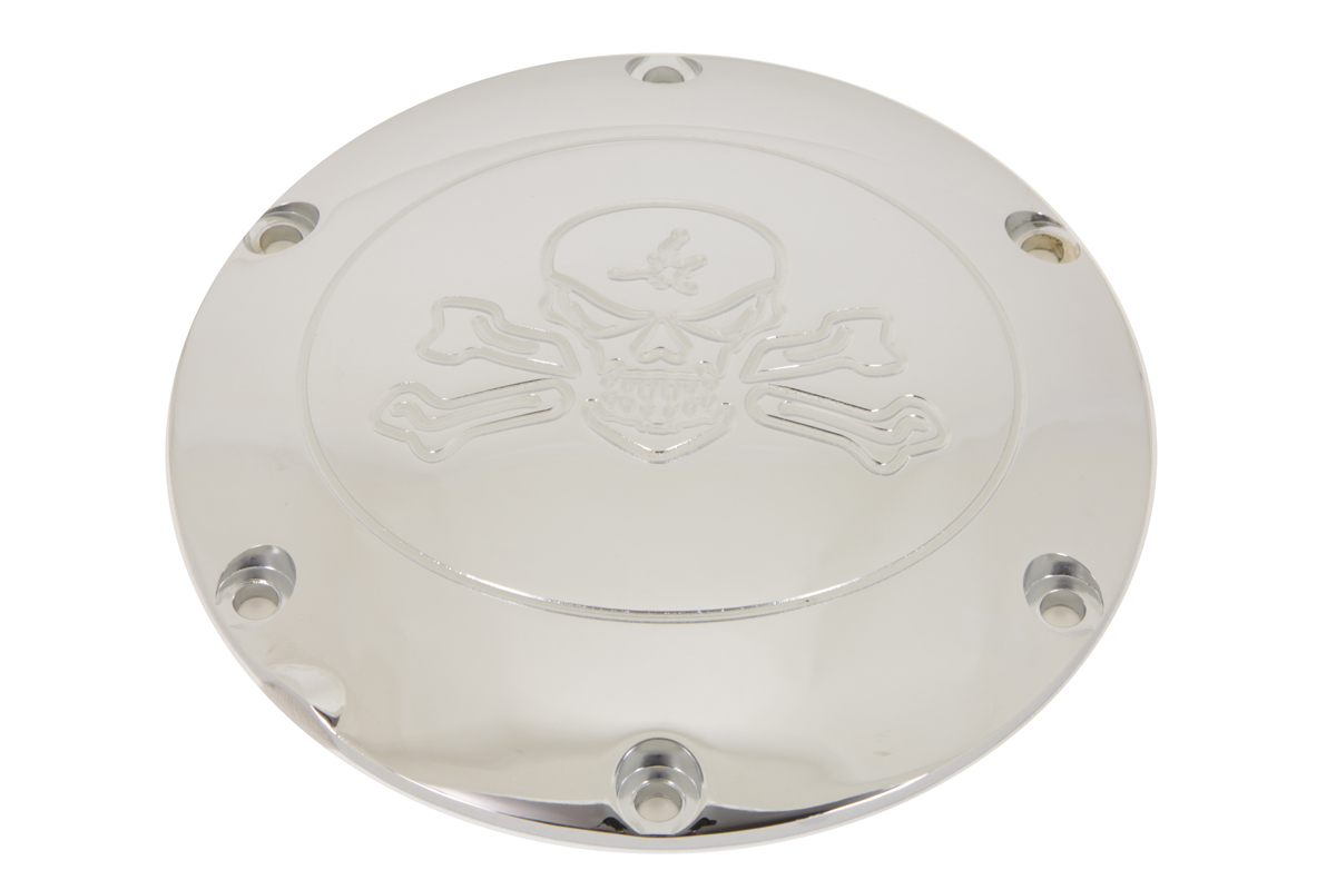 V-Twin 42-1266 - Skull with Cross Bones Derby Cover Chrome