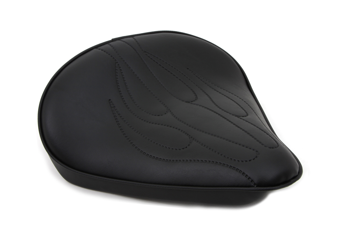 V-Twin 47-0059 - Black Solo Seat with Flame Stitch Large