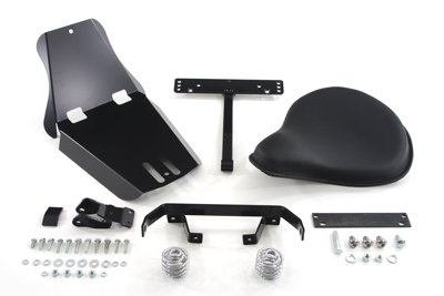 V-Twin 47-0549 - Black Leather Solo Seat With Mount Kit
