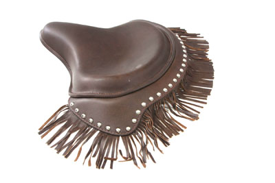 V-Twin 47-0749 - Brown Deluxe Solo Seat with Fringe Skirt