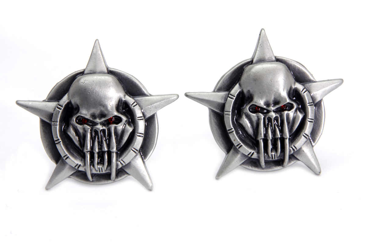 V-Twin 48-1621 - Skull on Star License Plate Topper Set