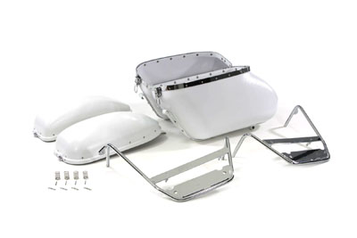 V-Twin 49-2450 - Replica Bubble Saddlebag Kit White