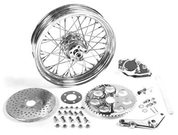 "V-Twin 52-0600 - 16"" x 3.00"" Rear Wheel Kit with Caliper Chrome"