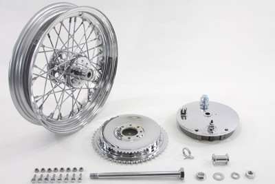 "V-Twin 52-1052 - 16"" Wheel and Brake Drum Assembly Chrome"
