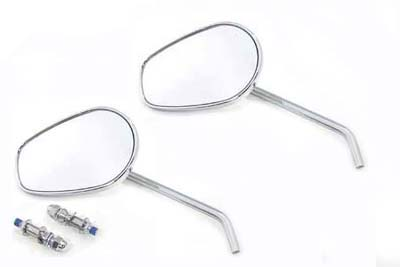 V-Twin 34-0402 - Rectangle Mirror Set with Round Stems