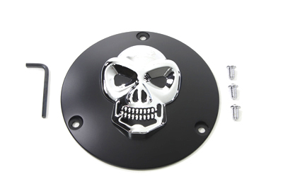 V-Twin 42-0558 - Black Derby Cover with Chrome Skull