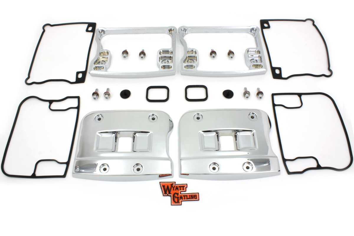 TOP ROCKER ARM COVER SET, CHROME VTWIN 43-0377