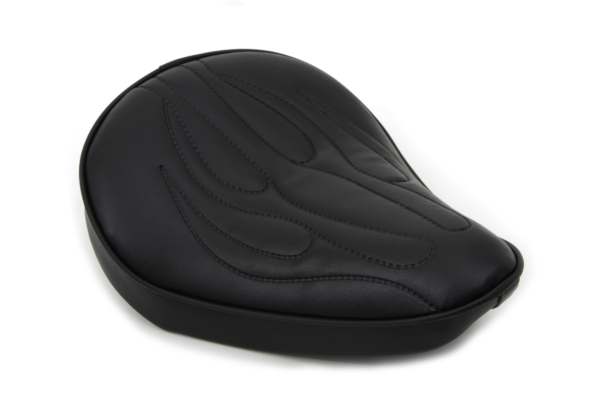 V-Twin 47-0072 - Black Solo Seat with Flame Stitch Small