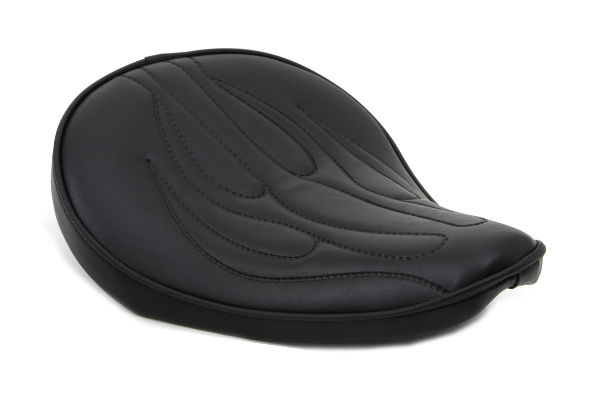 V-Twin 47-0085 - Black Solo Seat with Flame Stitch Small