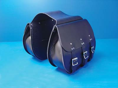 V-Twin 48-3128 - 3 Buckle Thro-Over Saddlebags Black